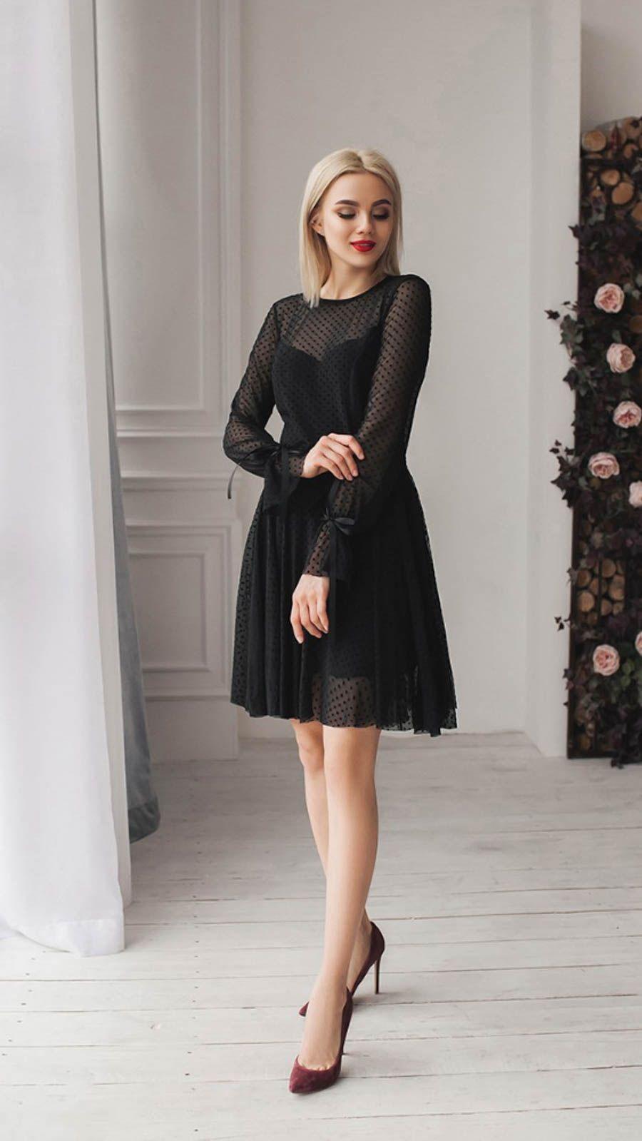 eb77b75ba6f6d9e Черное платье-колокольчик , с рукавами в горошек-сеточку | Платья ...