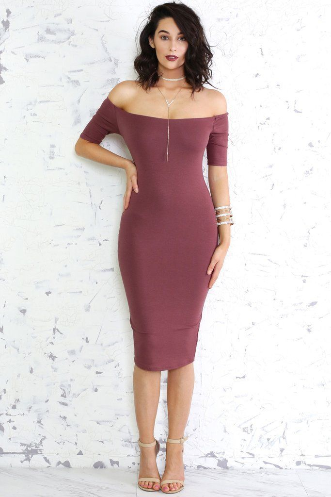 Off The Shoulder Bodycon Midi Length Dress with beige sandals.   Pinned on   benitathediva 67130ef49c1a
