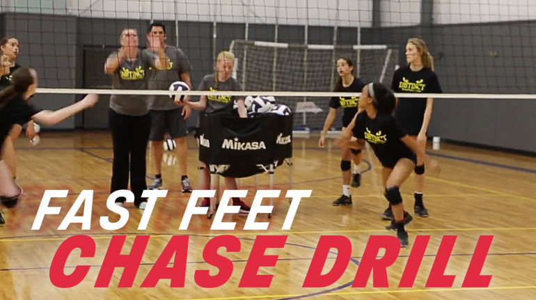 Encourage Fast Feet With Chase Drill Volleyball Training Volleyball Tryouts Volleyball Practice