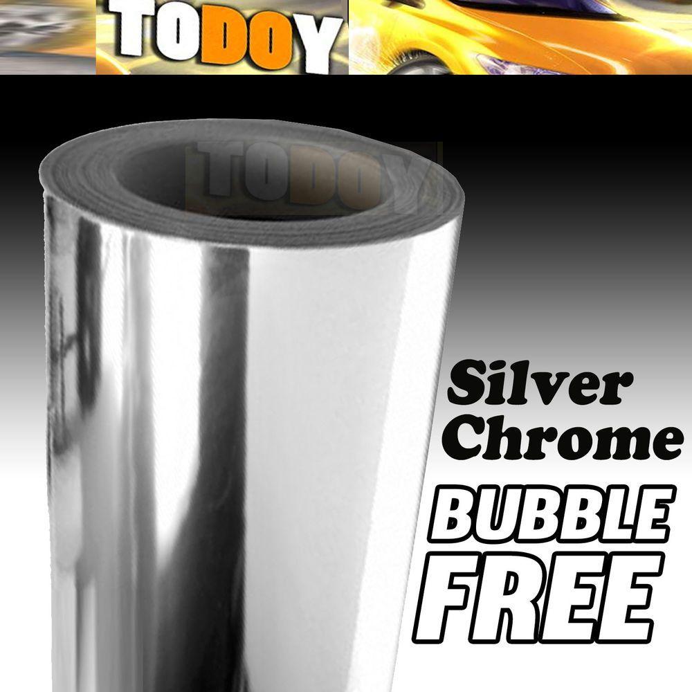 "24""x60"" SILVER CHROME MIRROR Vinyl Wrap Sticker Decal Sheet w/ Air Bubble Free #todoy"