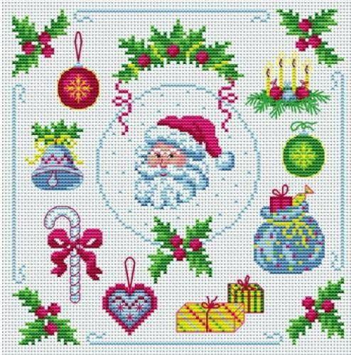 Мини вышивка крестом новогодние схемы