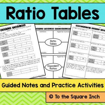Ratio Tables Notes | Math Activities | Dividing decimals