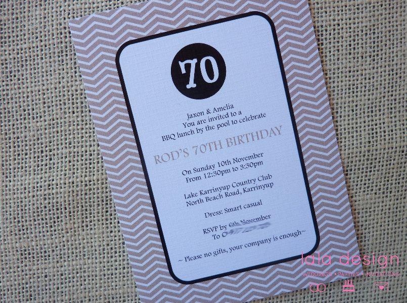 Custom Commissions Birthday invitations, 70th birthday