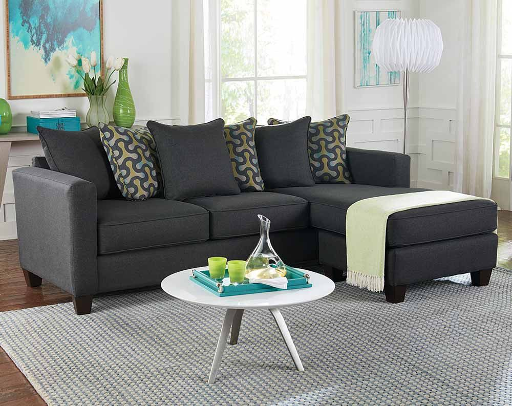 Charmant Gray Living Room Sectional With Teal And Yello Accent Pillows | American  Freight ...