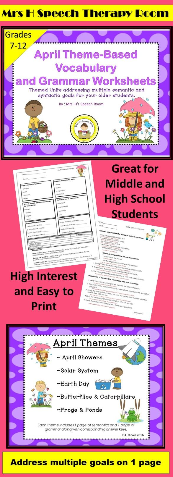 Pin By Mrs H S Speech Therapy Room On High School And Middle School Speech April Speech Therapy Speech Therapy Themes School Speech Therapy [ 1613 x 586 Pixel ]