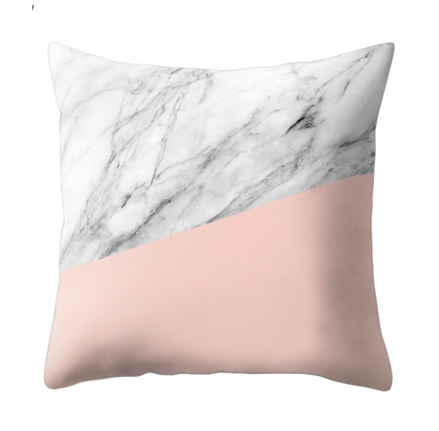 Pink u grey marble printed cushion covers pillow case bedroom home