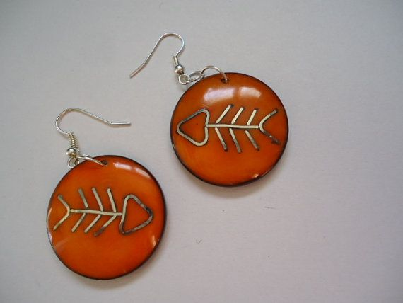 Orange Tagua Earrings by IngridFonseca on Etsy, $14.00