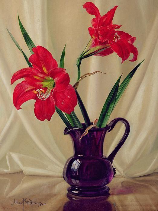 Amaryllis Lillies In A Dark Glass Jug By Albert Williams Flower Art Amaryllis Painting Flower Painting