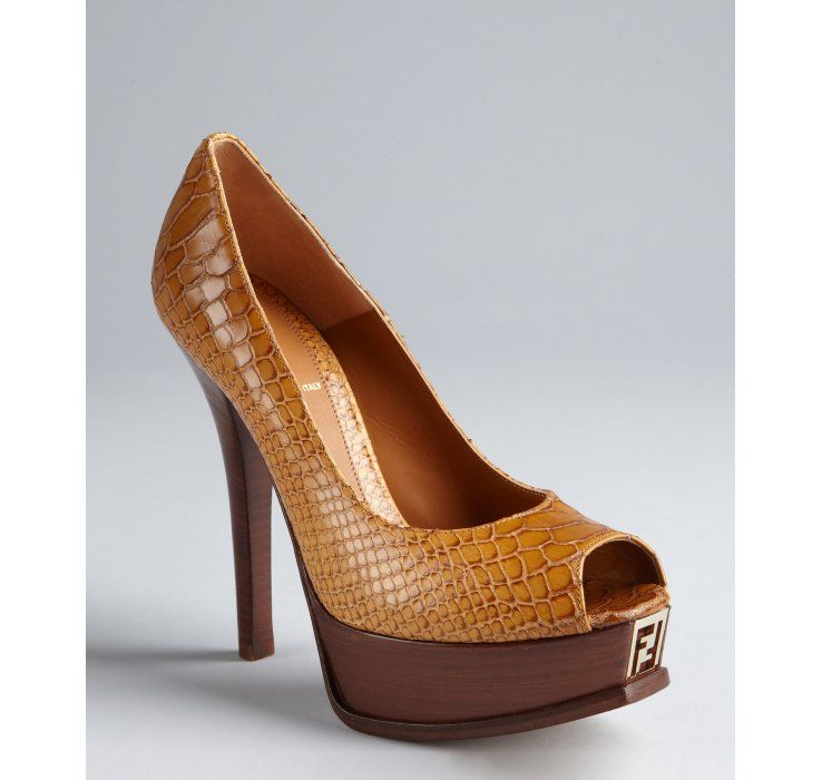 c55b7e3fb8f Fendi brown snake embossed leather  Fendista  peep toe platform pumps