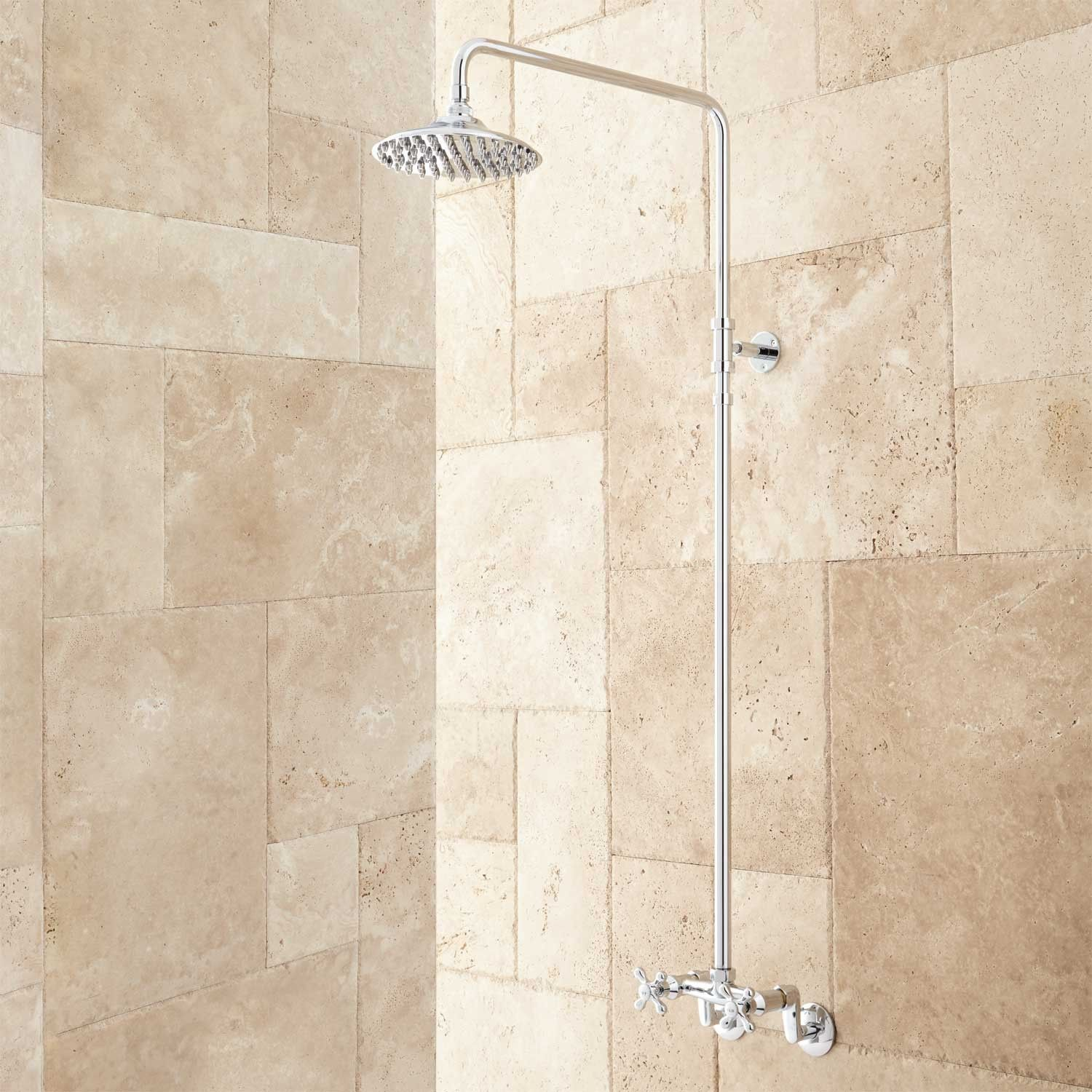 Netta Exposed Pipe Shower with Rainfall Shower Head | Pipes, Chrome ...
