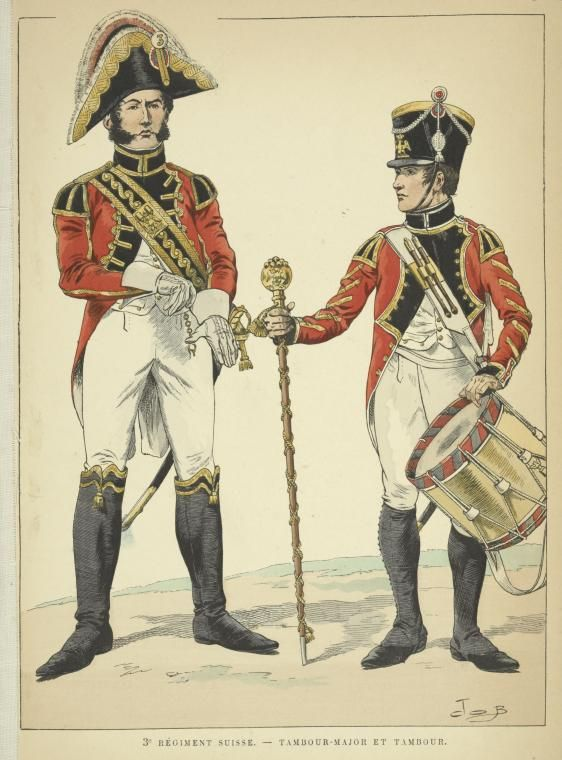 Swiss; 3rd Regiment, Drum Major& Drummer 1806 by JOB French Military Musicians Napoleonic
