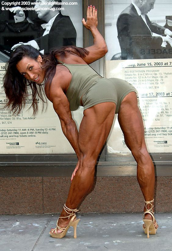 Female bodybuilder in the mall