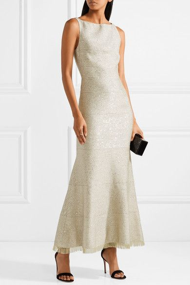 Sequin-embellished Lurex Gown - Gold Oscar De La Renta Enjoy From China Free Shipping Low Price Comfortable Online Cheap New x4W2Xt0LLC