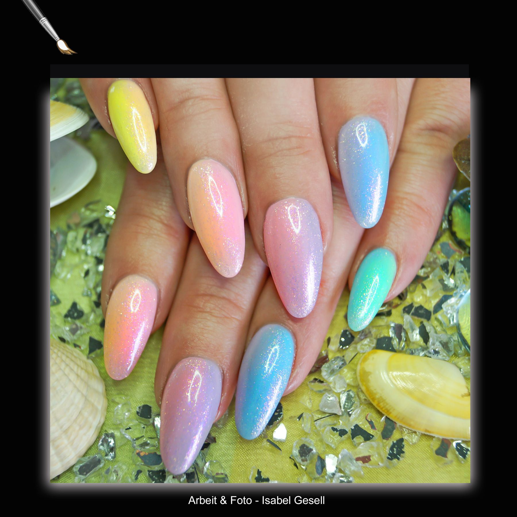 the latest mermaid UV Gel rainbow nails trend! http://www.vw-e.de ...