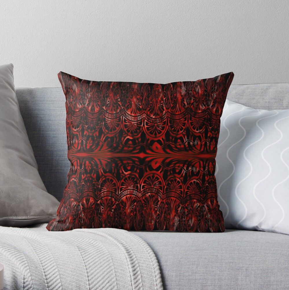 Dark Red Spikey Ornamental Lace Design Pattern Throw Pillow By Alexis Luna In 2020 Throw Pillows Pillows Patterned Throw Pillows