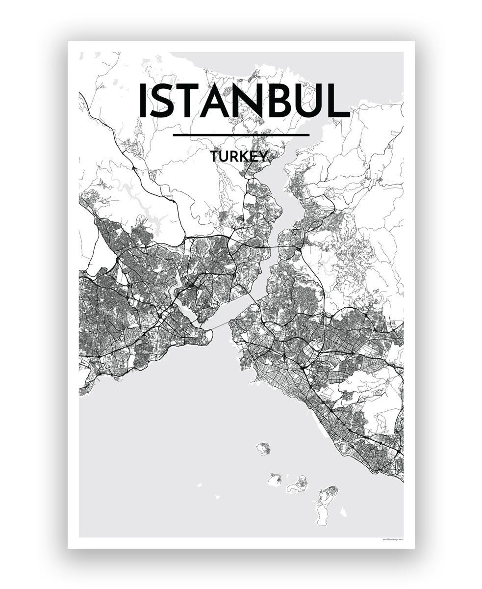 MAP OF ISTANBUL ART PRINT GRAPHIC POSTER OLD STREET PHOTO TURKEY