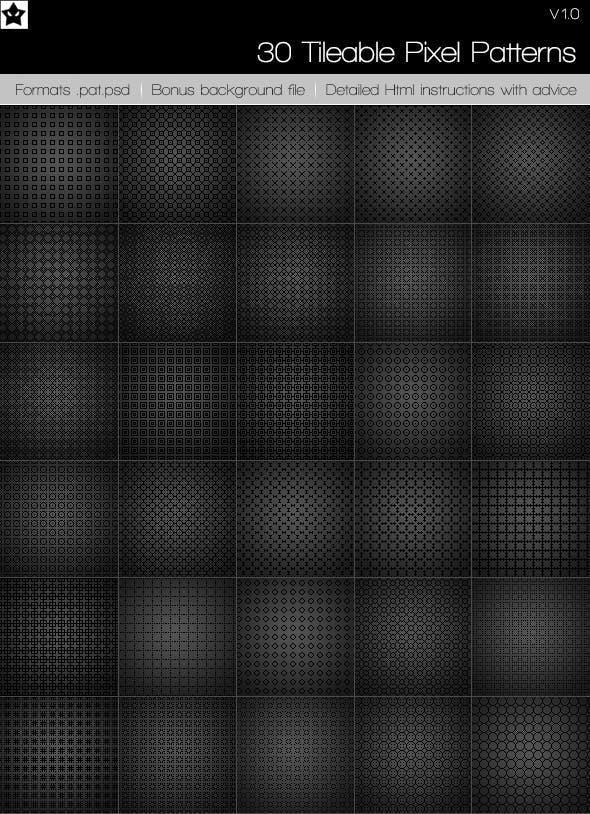 30 Tileable Pixel Patterns Pixel Pattern Photoshop Textures