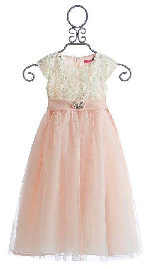 Le Pink Fancy Girls Dress In Ivory Rose Vestidos Niña