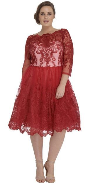 Modest Plus Size Red Lace Midi Dress With Sleeves Curve Modest