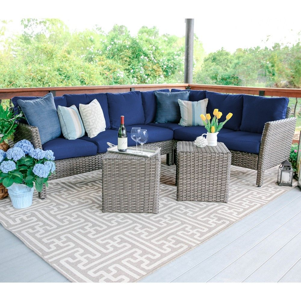6pc Canton All Weather Wicker Corner Sectional Navy Leisure Made Wicker Outdoor Sectional Sectional Patio Furniture Patio Furniture Sets