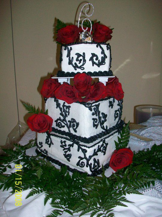 Black Thorny Scrolls With Red Roses Stacked Square Cakes Wicked - Wicked Wedding Cakes