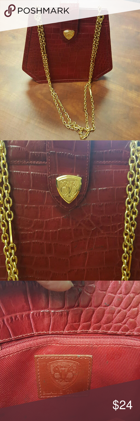 Red Blaine Trump Purse Croc Embossed Leather With Gold Tone Chains In Gret Used Condition But Has Stains Inside Bags Shoulder