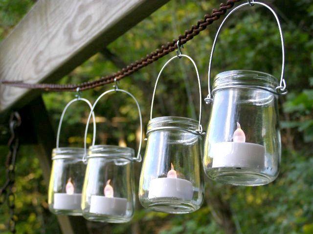 Four Funky Mini Jar Lantern Candle Hanging Vase Outdoor Lighting ...