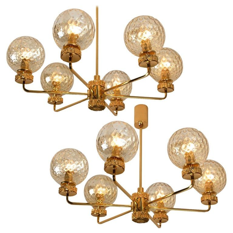 Set Of Large Gold Plated Brown Glass Chandelier In The Style Of