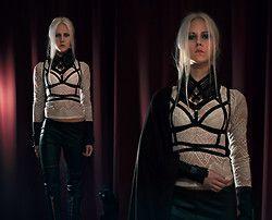 Diy Collar, Diy Harness, Diy Cuffs, Vero Moda Lace Blouse, H&M Trousers - Street cred - Kadri Sammel
