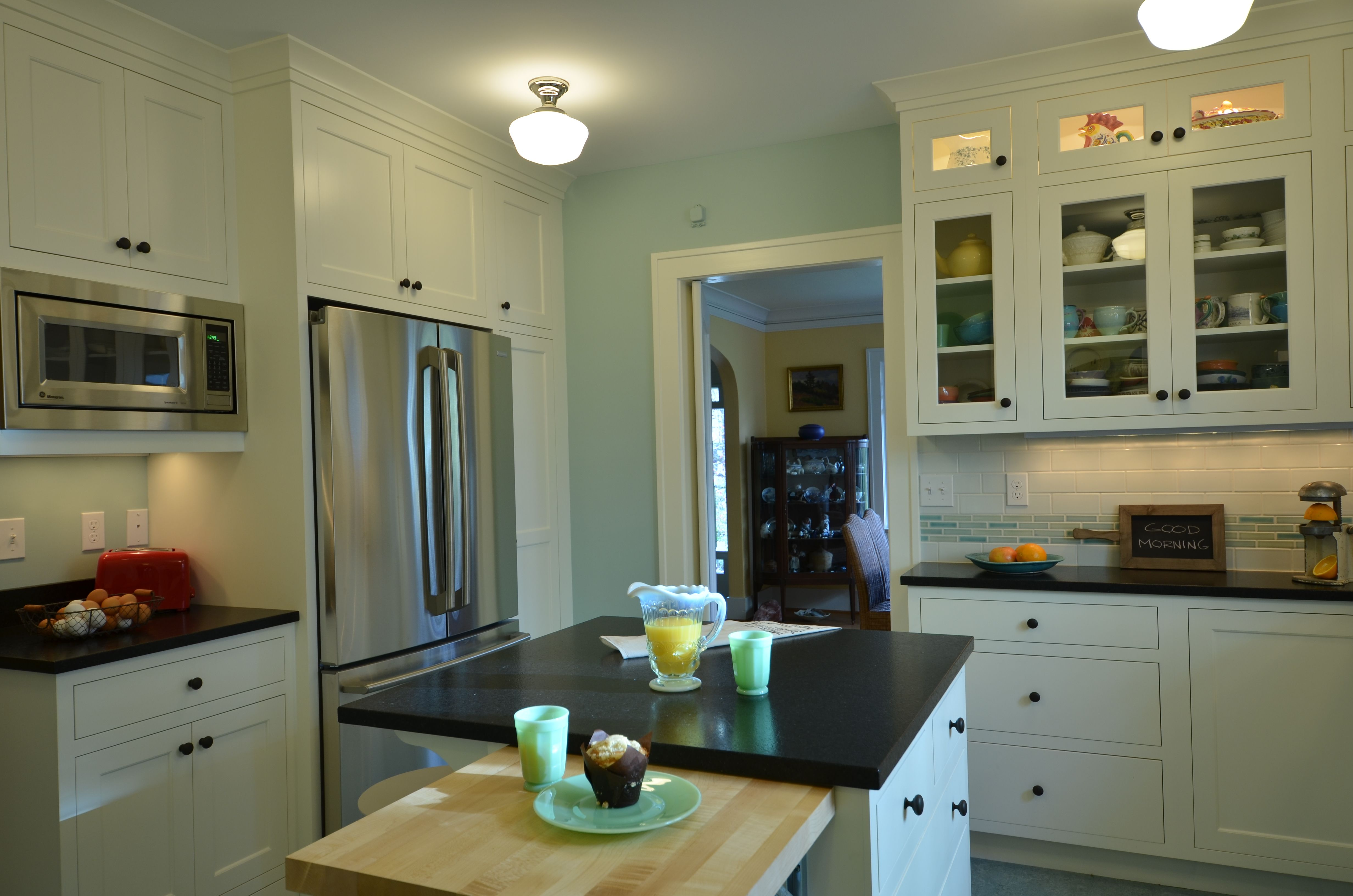 kitchen remodel white cabinets stainless appliances built in
