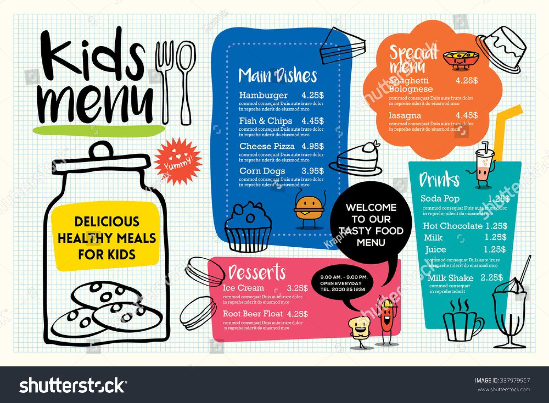 Sample Kids Menu Template | Stock Vector Cute Colorful Kids Meal Menu Placemat Design Vector