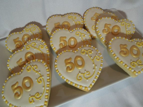 50th Wedding Anniversary Heart Shaped Decorated Iced Sugar Cookies