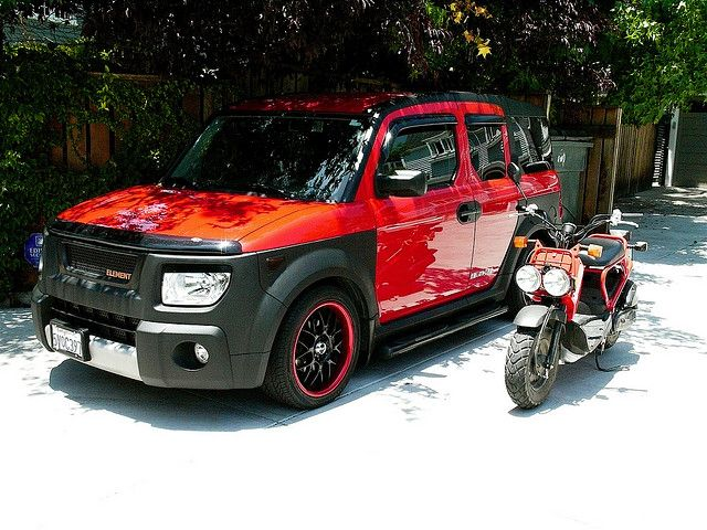 Black Red Element And Matching Bike D Honda Element Camping