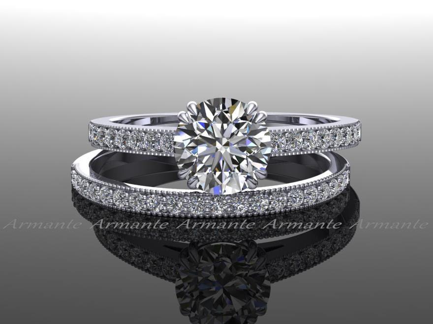 Moissanite Engagement Set Vintage Style Diamond And Moissanite Wedding Set 14k White Gol Engagement Sets Vintage Style Engagement Rings Moissanite Wedding Set