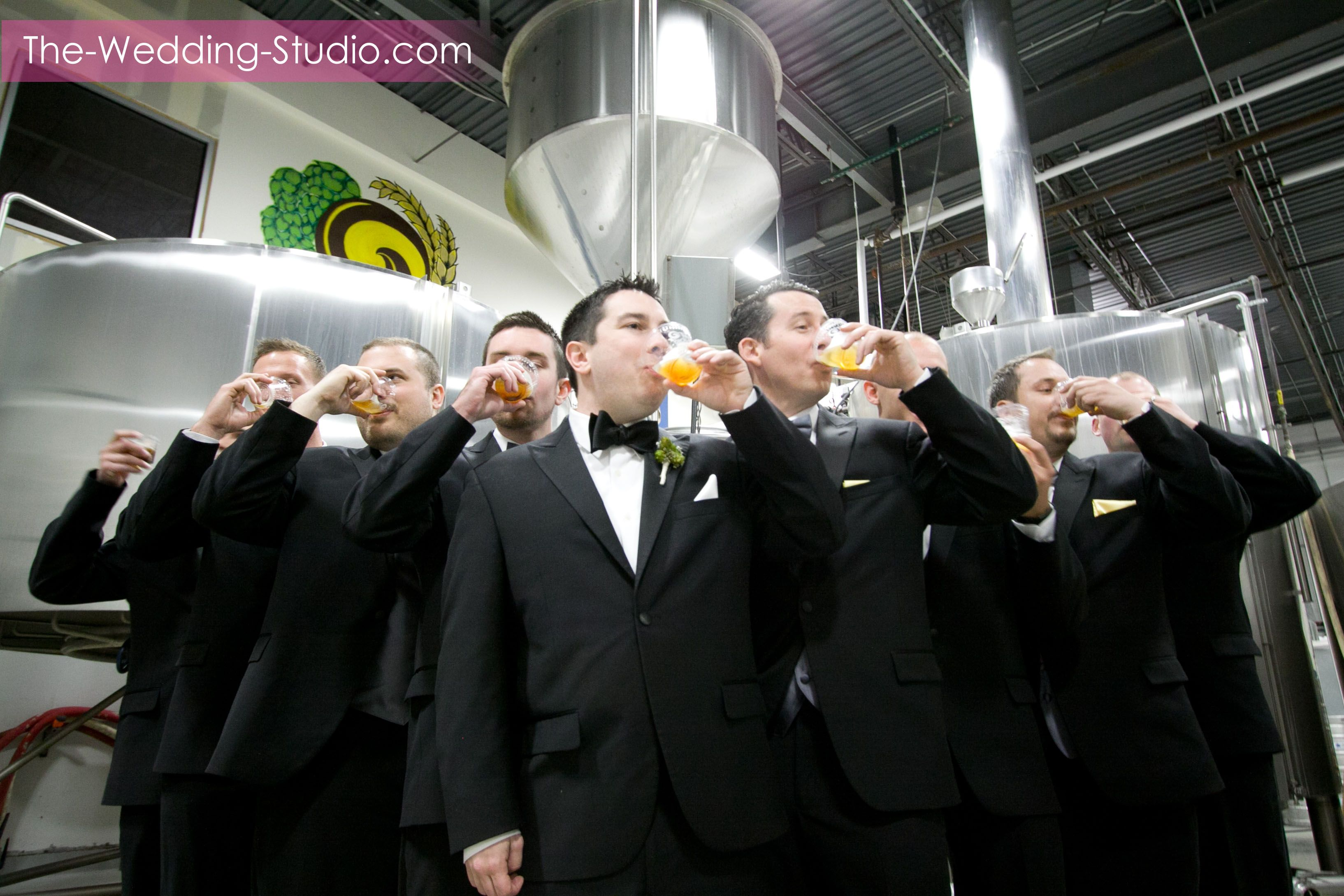 Groomsmen sampling the brew at Two Brothers Brewery