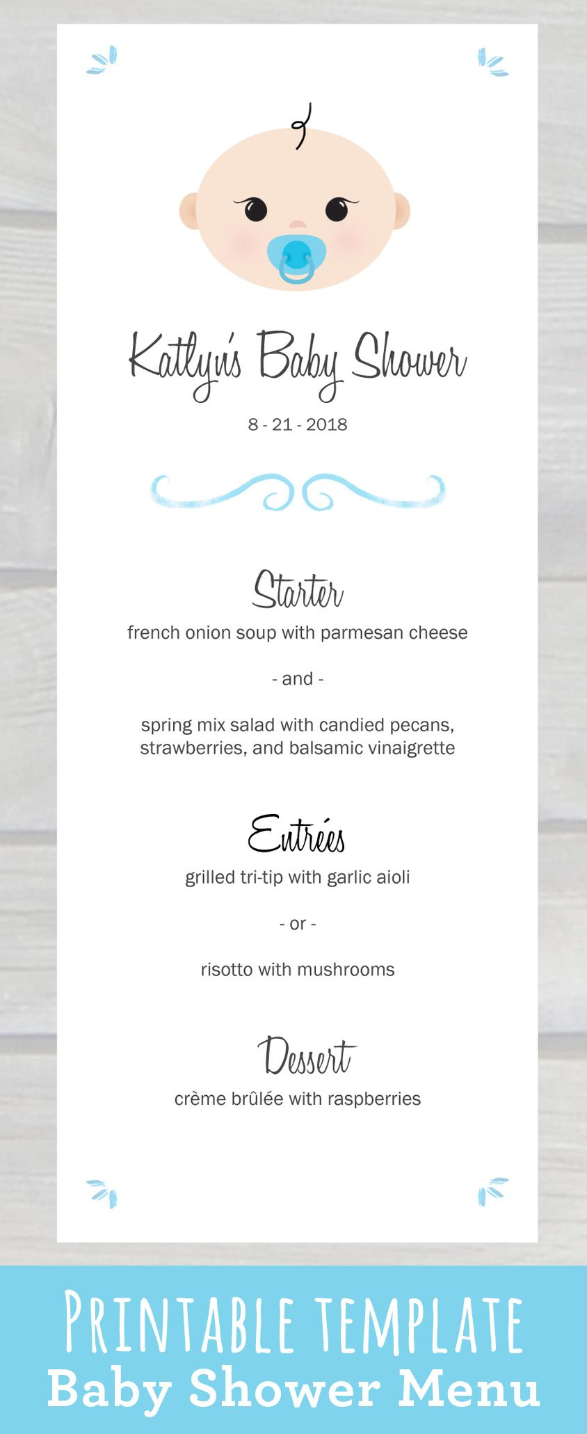 use this cute baby shower menu template pdf to edit print your own