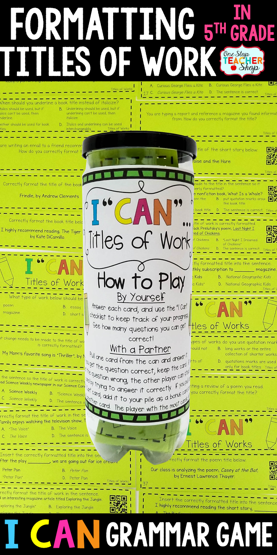 5th grade grammar game titles of works grammar review grammar 5th grade grammar game titles of works sciox Images