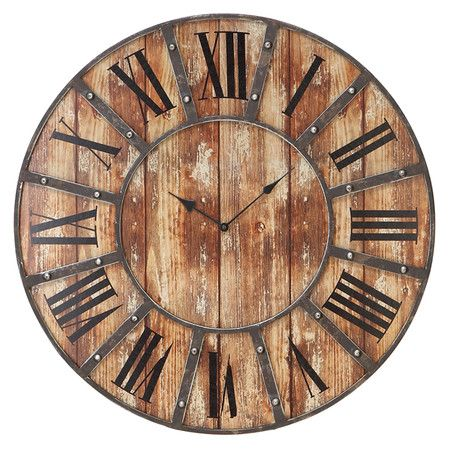 Weathered Metal And Wood Wall Clock With A Roman Numeral Face Product Wall Clock Construction Ma Oversized Wall Clock Farmhouse Wall Clocks Wood Wall Clock