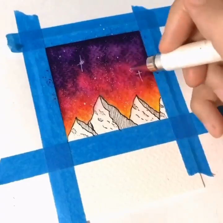 Star Mountain Watercolor Paintings👉www.paperhouse.