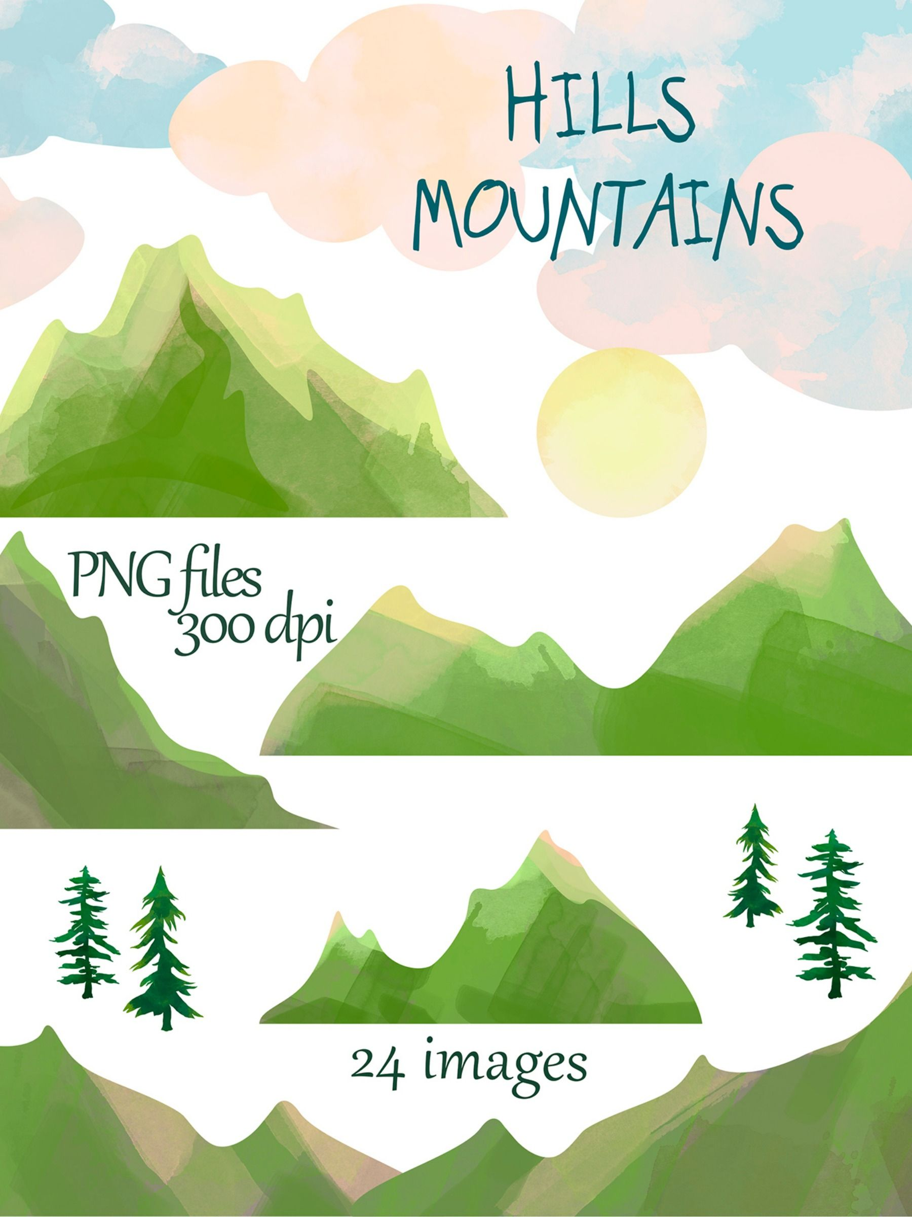 Mountains Clipart Watercolor Pine Trees Mountain Download Etsy Mountain Clipart Clip Art Digital Clip Art