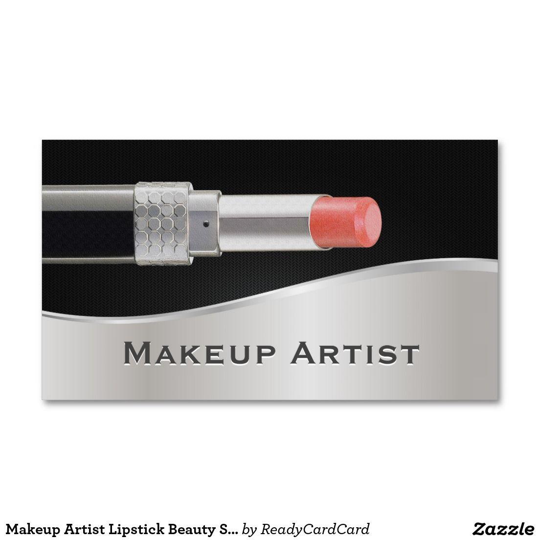 makeup artist resume%0A Makeup Artist Lipstick Beauty Salon Black  u     Silver Business Card