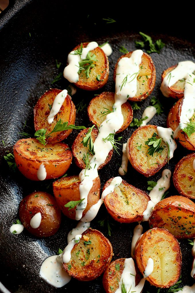 Crispy Potatoes With Vegan Ranch Dressing