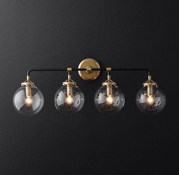 Photo of Bistro Globe Clear Glass 4-Light Bath Sconce
