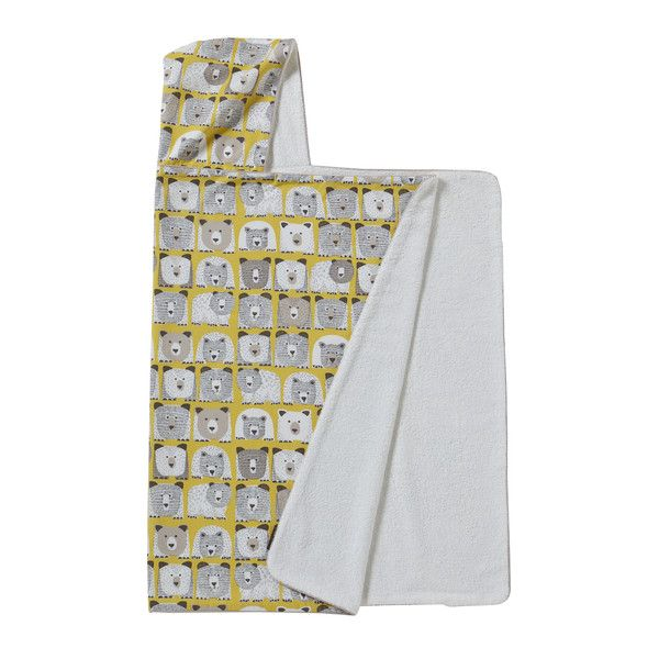 Bears Hooded Towel | The Scandinavian-inspired design features whimsical animal personality with modern sketchbook drawing style. DwellStudio's designers created bear illustrations that feature hatch-marked details on a bright citrine ground. Perfect for boys or girls, this chic, graphic pattern has a fun, modern vibe. Generous in size, the Bears Hooded Towel fits infants through school-age kids.