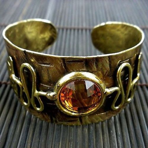 Tribal Brass and Crystal Cuff - Brass Images (C)