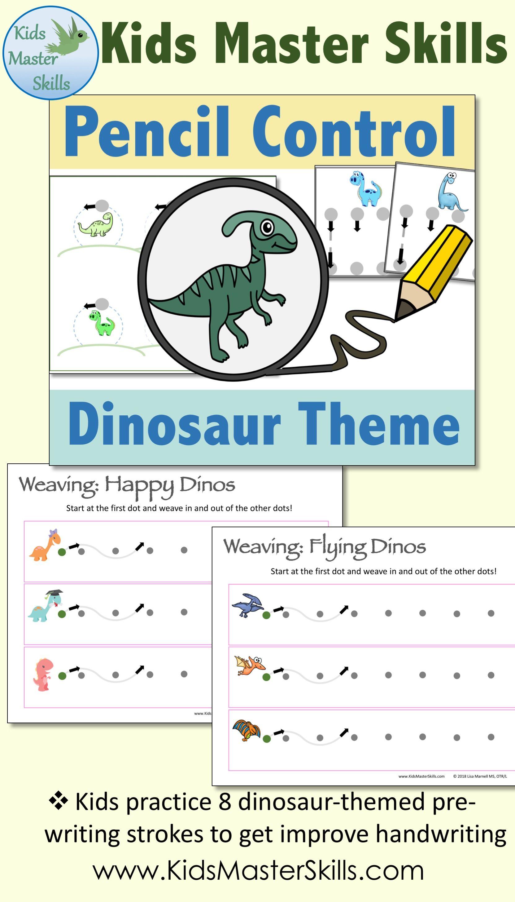 Pencil Control Dinosaurs Handwriting Strokes For Preschool And Kindergarten Pre Writing Writing Skills Teaching Handwriting Dinosaur writing activities kindergarten