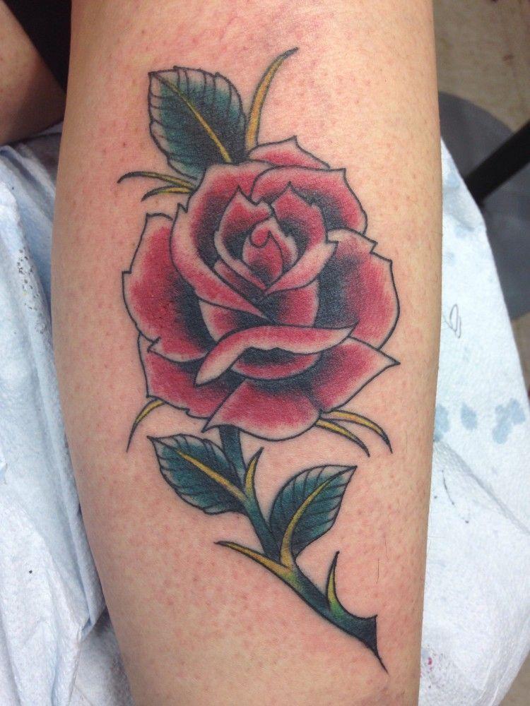 Classic Rose Tattoo : classic, tattoo, Classic, Tattoo, Tattoo,, Tattoos,, Flower