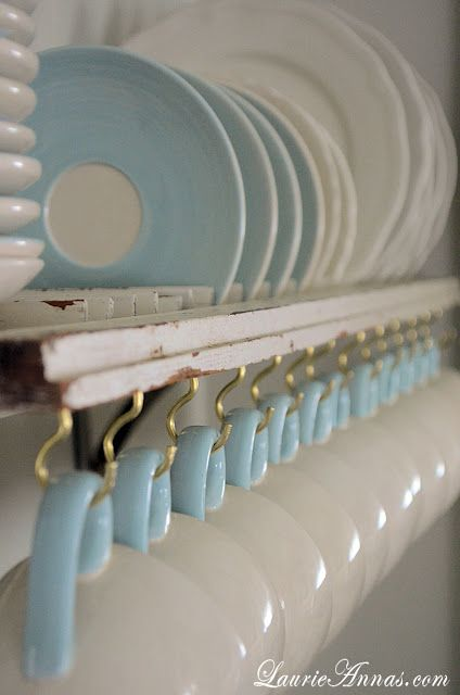 LaurieAnna's Vintage Home: DIY Shutter Plate Rack  - love this!