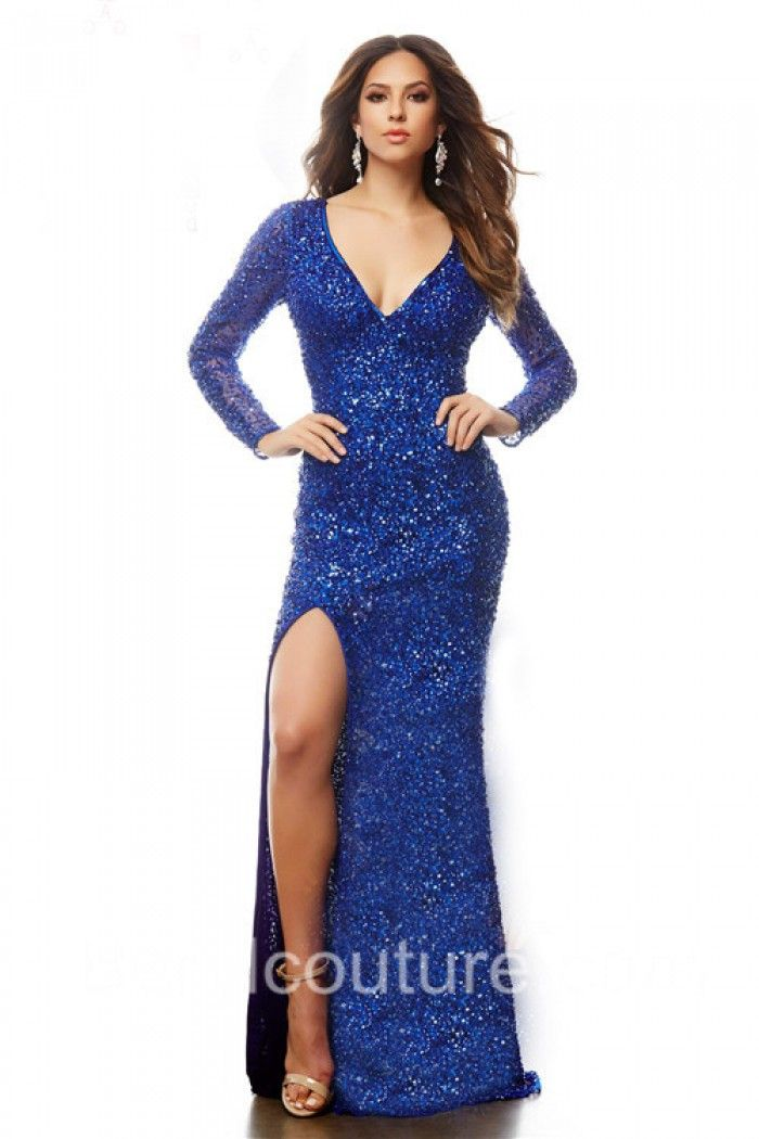 Fitted V Neck Long Sleeve Royal Blue Sequin Sparkly Prom Dress With