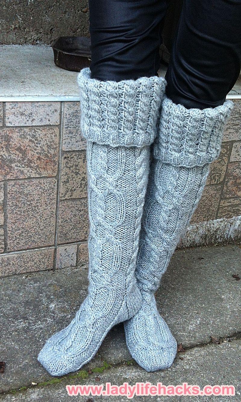 Knitted knee-length socks 300 g of Qual Drops Karisma melange yarns ...